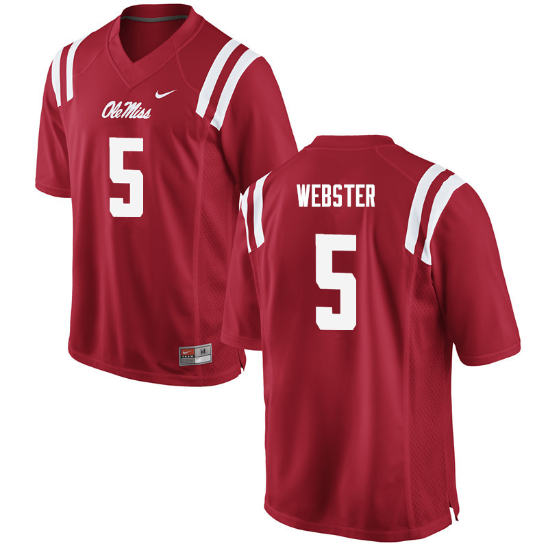 Men Ole Miss Rebels #5 Ken Webster College Football Jerseys-Red